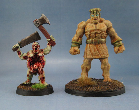 "Reaper Bones 77171: Stone Golem and Harlequin Zombie ""Buster Rotvessel"""