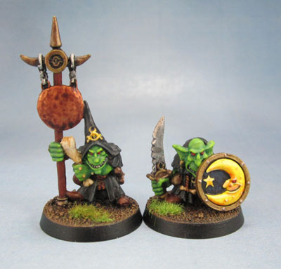 4th Edition WHFB Night Goblin Champion and Musician Gloomspite Gitz