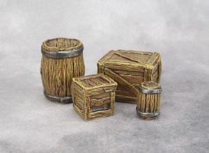 Reaper Bones, 77249: Large Barrel Small Barrel, 77248: Crates (Large and Small)