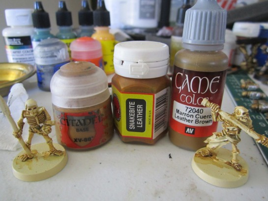 "All of these paints are effectively ""Snakebite Leather"" for the first shade layer."