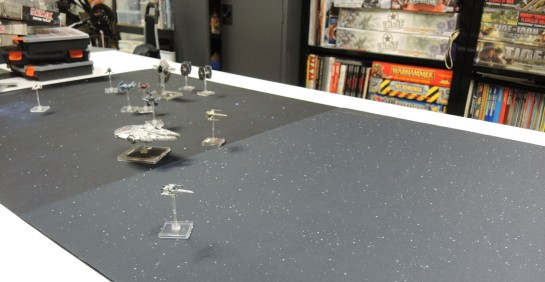 Urbanmatz' 6x3 Space Mat, Fantasy Flight's X-Wing Starfield 3x3 Mat.