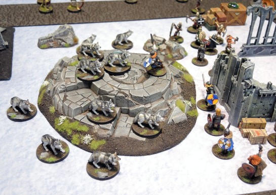 Monolith Games Conan board game Giant Wolves, Urbanmatz Snow Territory game Mat, 28mm Vikings, Wargames Foundry