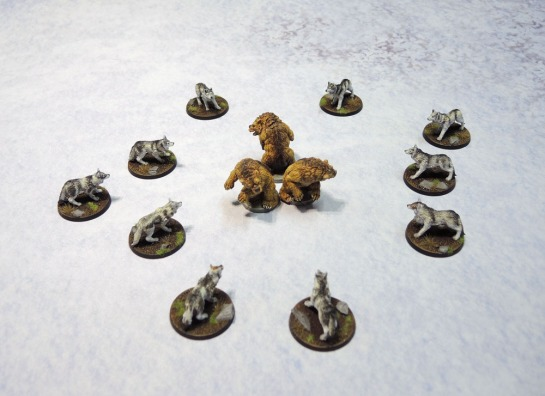 Monolith Games Conan board game Giant Wolves, Urbanmatz Snow Territory game Mat, D&D Miniatures Bears