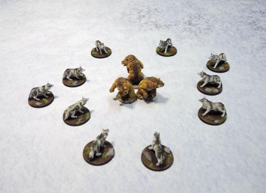 Urbanmatz' 6'x4' Snow Territory Game Mat. Wolfpack, Bears