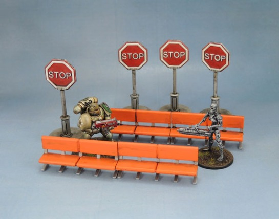 Mantic Mars Attacks Accessory Scenery Stop Sign Benches 28mm Wargaming