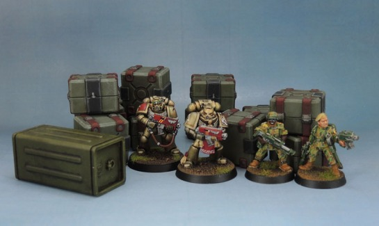 Sedition Wars Terrain Set Crates, Metal Cadian Imperial Guard, Minotaurs Space Marines