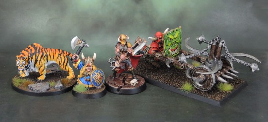 Conan Kickstarter Sabretooth Tiger, Dwarf Queen Helgar Longplaits, Female Khorne Bloodreaver, Chaos Dwarf Boar Centaur Whirlwind