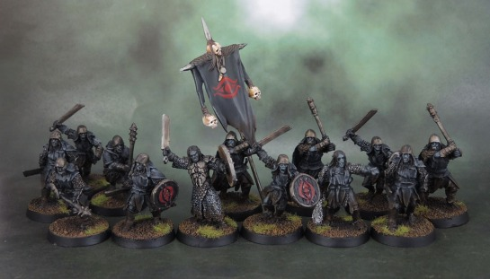 Shagrat, Mordor Black Uruk Commander, Mordor Black Uruk-Hai Banner, Mordor Uruk-Hai - Lord of the Rings: SBG