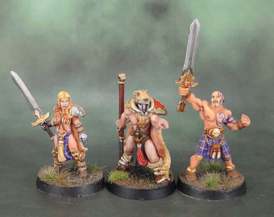 Chronopia Sons of Kronos Hunter, Blade Maiden, Barbarian Heartbreaker Models, HM1058 Brabarian Fighters II, Harlequin Miniatures, Black Tree Design, Kev White