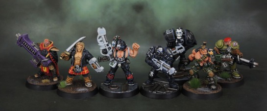 Warzone 1st Edition Cybertronic Chasseur Hero with LMG Conversion, Atilla III Cuirassier, Cybertronic Chasseur, Agent Nick Michaels, Imperial Blood Berets HMG Specialist, Capitol Sea Lion Hero, Dark Legion Technomancer