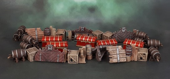 Mantic Terrain Crate, Barricades, Kegs, Monolith Conan Boardgame Chests