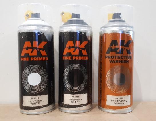 AK1011 Fine Primer White, AK1009 Fine Primer Black, AK1015 Protective Varnish