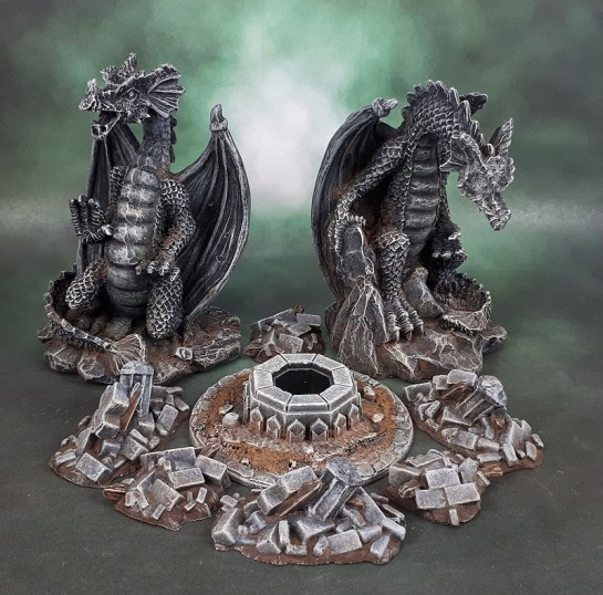 Dragon Statue Terrain, Lord of the Rings SBG Moria Well, Mantic Terrain Crate Rubble