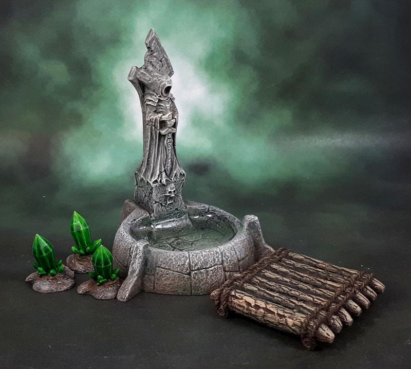 Reaper Bones 4 Fantasy Scenics Fountain, Dreadmere Raft, Mantic Terrain Crate Crystal Formations