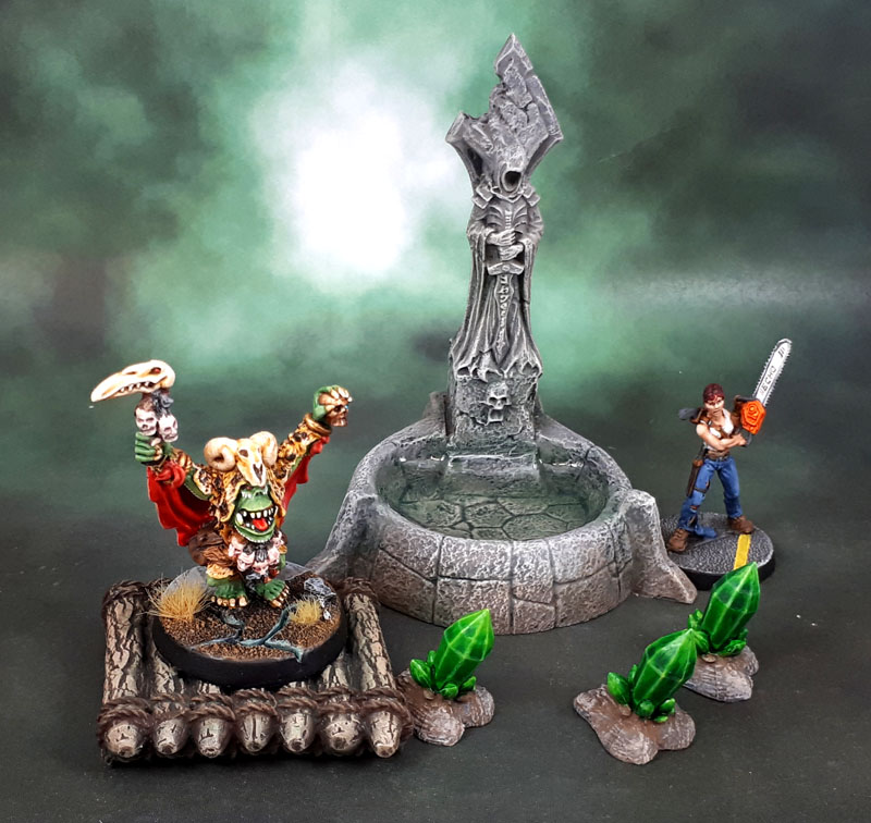 Reaper Bones 4 Fantasy Scenics Fountain, Dreadmere Raft + Mantic Terrain Crate Crystal Formations
