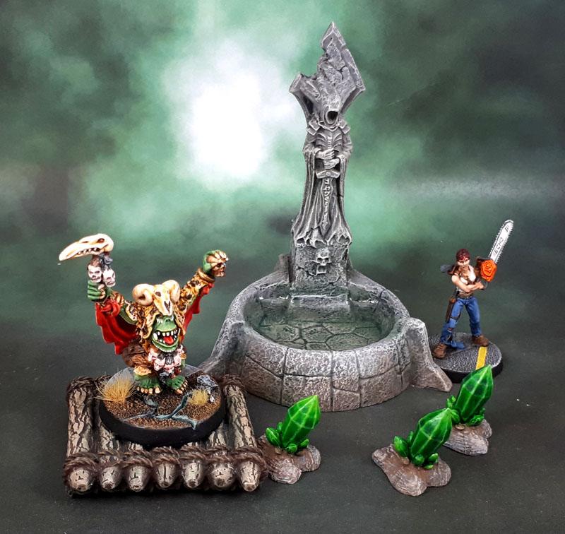 Reaper Bones 4 Fantasy Scenics Fountain, Dreadmere Raft + Mantic Terrain Crate Crystal Formations