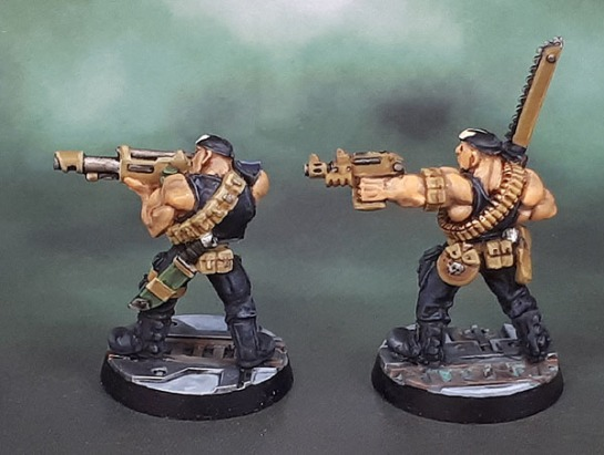 Jungle Fighter with Lasgun 4, 0437/1, Jungle Fighter Sergeant 1 0437/4, Necromunda 1995, Ganger with Lasgun, Ganger with Autopistol and Chain Sword, Michael Perry, 1993-4