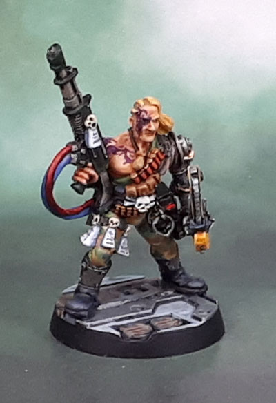 Necromunda 1995, Bounty Hunter with Bionic Arm and Chainsword, Gary Morley, 1995-6