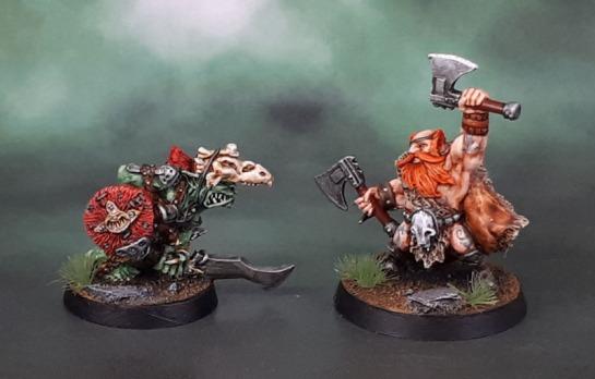 Rackham Forest Goblin Chieftain, Mantic Dwarf Berserker Lord