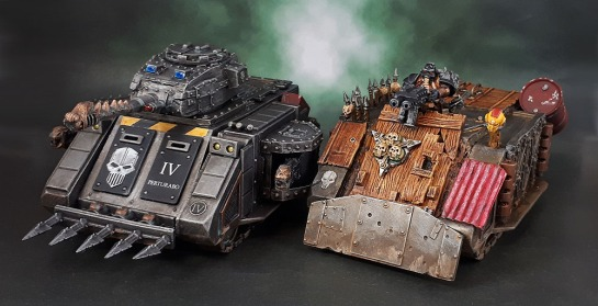 Iron Warriors MK.IIIc Pattern Predator, Plague Marine Rhino Mk.I.