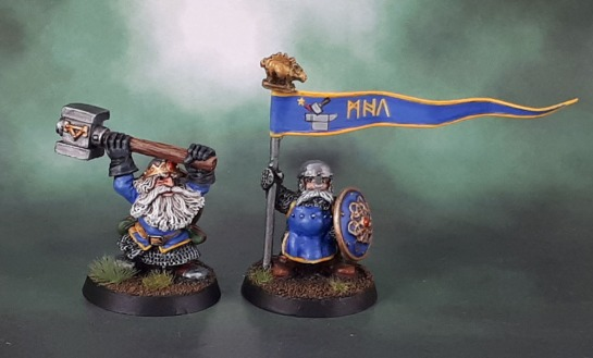 Drong the Hard (Colin Dixon, 1998), Imperial Dwarf Command Standard Bearer (Michael/Alan Perry, 1988)