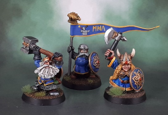 Drong the Hard (Colin Dixon, 1998), Imperial Dwarf Command Standard Bearer (Michael/Alan Perry, 1988), Queen Helga Longplaits