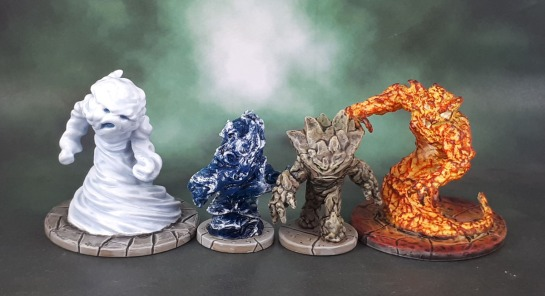 Dungeons and Dragons Miniatures Temple of Elemental Evil - Earth, Air, Fire and Water Elementals