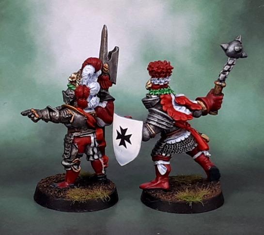 Reiksgard Foot Knights, Marauder Miniatures MM65 Reiksgard Knights, Empire Imperial Command Groups Hero with Halberd 2