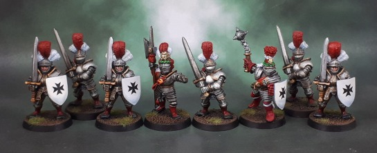Reiksgard Foot Knights, Marauder Miniatures MM65 Reiksgard Knights, Empire Imperial Command Groups Hero with Halberd 2