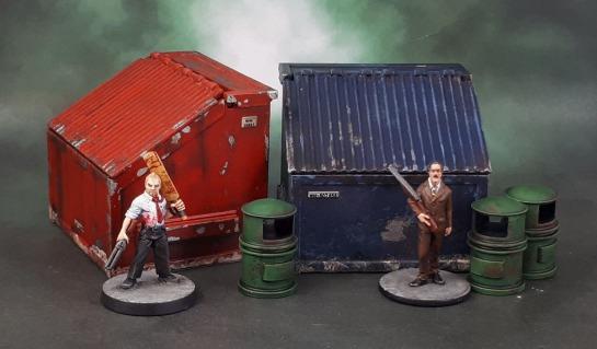 Reaper Bones 80035: Dumpster & Mantic Red Brick Terrain Urban Accessories, Mars Attacks