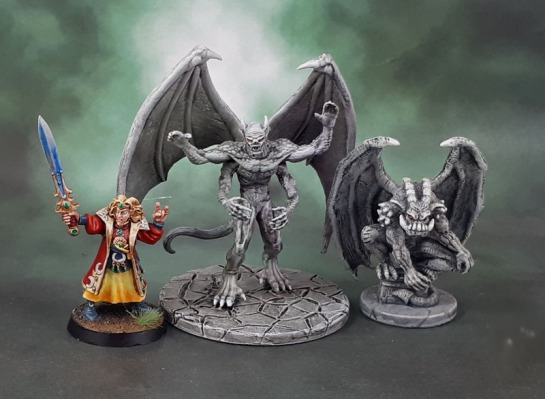 D&D Dungeons and Dragons Tomb of Annihilation - Giant Four-Armed Gargoyle, Castle Ravenloft - Gargoyle, High Elf Mage With Sword 021003901, Gary Morley, 1998