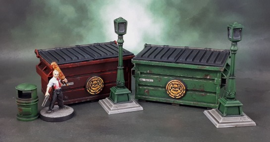 Marvel Crisis Protocol Terrain: Dumpsters and Street Lights