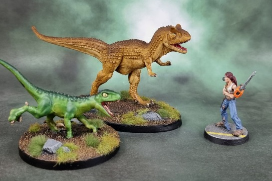Reaper Bones Black 44080: Carnotaurus, 44081: Raptor, 50153: Berkeley, Zombie Survivor