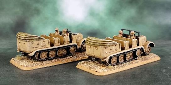 Battlefront Miniatures, Flames of War, DAK, Afrika Korps, Deutsches Afrikakorps, Sd.Kfz.7 Half Tracks, 15mm, 1/100 scale