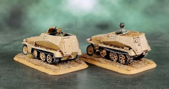 Battlefront Miniatures, Flames of War, DAK, Afrika Korps, Deutsches Afrikakorps, 15mm, 1/100 scale, Sd.Kfz.250/1 light half track, Sd.Kfz.253 recon vehicle