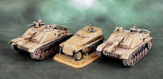 Battlefront Miniatures, Flames of War, DAK, Afrika Korps, Deutsches Afrikakorps, 15mm, 1/100 scale, Sd.Kfz.253 recon vehicle, StuG III G