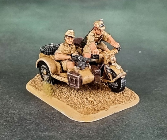Battlefront Miniatures, Flames of War, DAK, Afrika Korps, Deutsches Afrikakorps, 15mm, 1/100 scale, Motorcycle and Sidecar