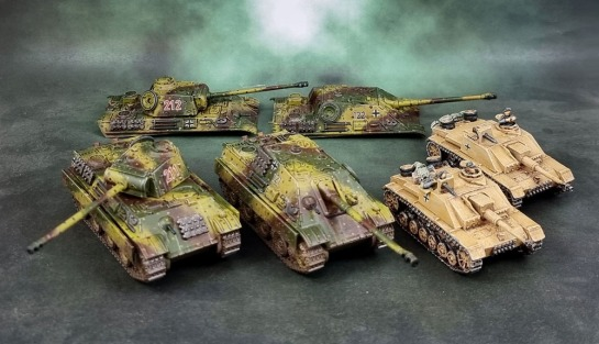 Battlefront Miniatures 15mm Panther Gs, Jagdpanthers and Stug IIIGs (Flames of War)